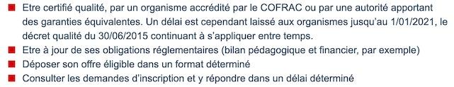 Appli CPF - Critères qualité